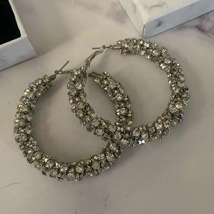 Rhinestone Silver Hoop earrings
